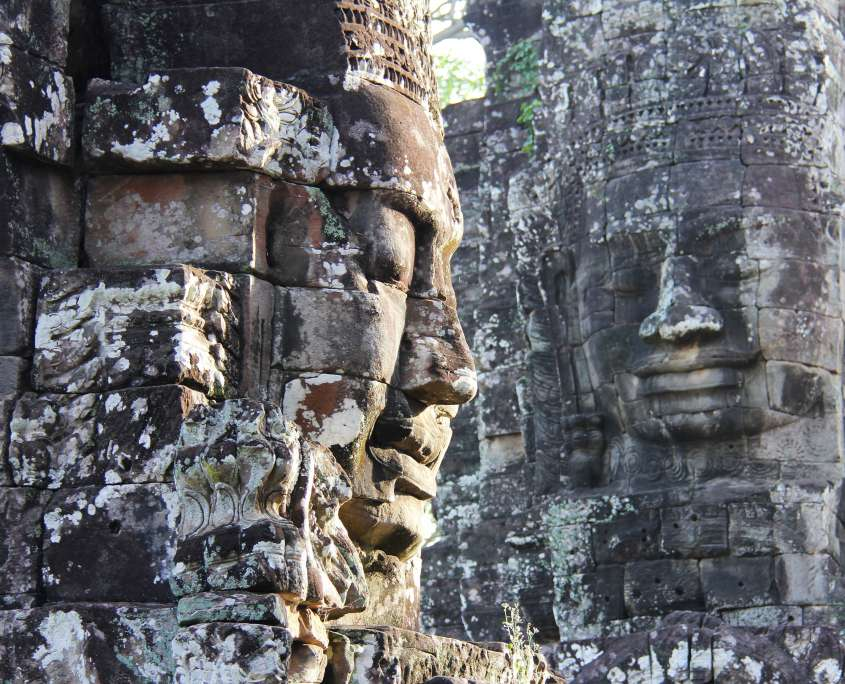 buddhist esoteric tantric meditative statues at bayon temple in siem reap cambodia