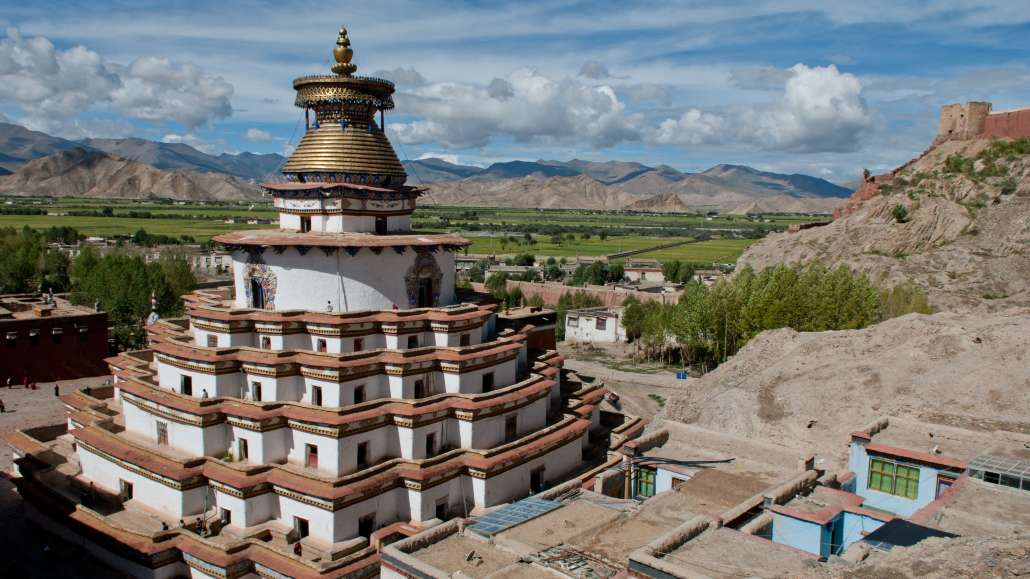 view of a tibetan buddhist mindfulness meditation temple
